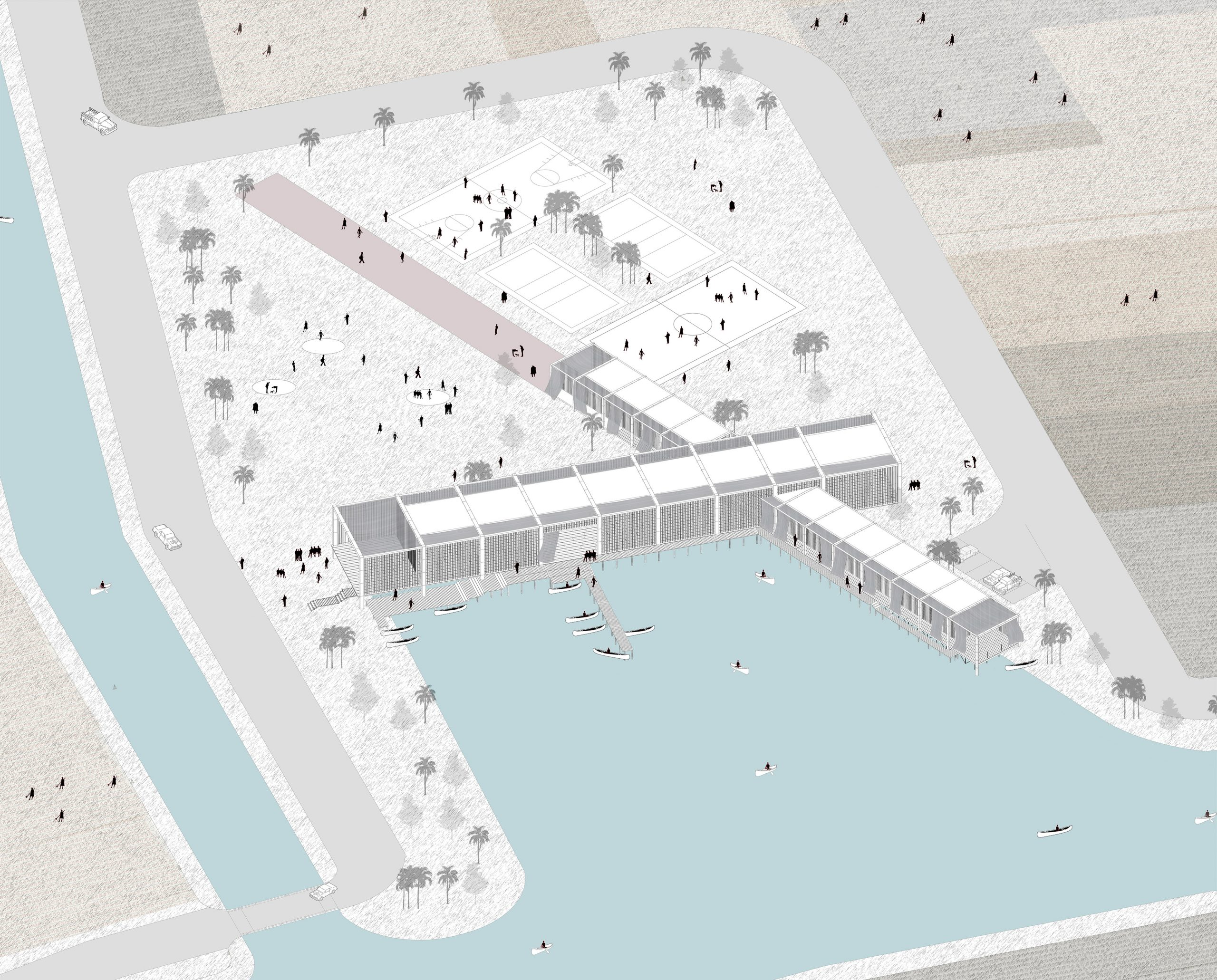 Isometric about School in the Marshes's Lagoon, Iraq